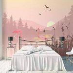 LANYU Papier Peint, Simple Paysage De Flamant Rose Paysage Mural Papier Peint Intérieur De La Chambre À Coucher Fond Décoration Murale Papier Peint 3D, 250 * 175Cm de la marque LANYU image 2 produit