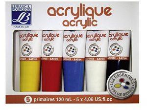 Lefranc & Bourgeois Set de 5 Peinture acrylique 120 ml Jaune/Rouge/Bleu/Blanc/Noir de la marque Lefranc-Bourgeois image 0 produit