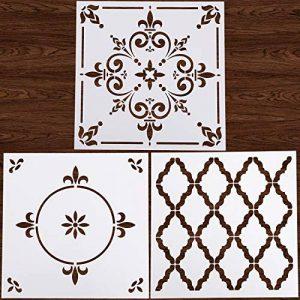 Locolo Lot de 3 pochoirs mandalas réutilisables 30,5 x 30,5 cm pour carrelage de sol pour meubles de sol, peinture en bois, bricolage, décoration d'intérieur, dessin de la marque LOCOLO image 0 produit