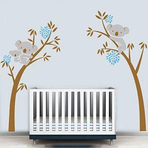 Lot d'autocollants muraux Motif maman et bébé koala sur un arbre Idéal pour décorer une chambre d'enfant/une crèche (Brown-Blue) de la marque BDECOLL image 0 produit