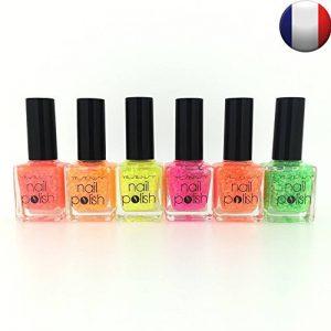 Lot de 6 vernis à ongles pailleté paillettes fluo déco nail art séchage rapide de la marque 123 cosmé image 0 produit