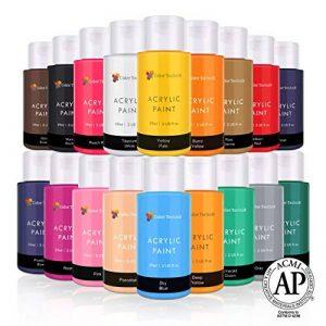 Lots de 18 flacons de peinture acrylique Color Technik 59 ml Les meilleures couleurs pour la peinture sur toile, bois, argile, tissu, Nail Art et céramique - Chargée de pigments -Coffret cadeau inclus de la marque Color-Technik image 0 produit