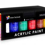 Lots de 18 Flacons de Peinture Acrylique Color Technik, 59ml, Les Meilleures Couleurs pour la Peinture sur Toile, Bois, Argile, Tissu, Nail Art et Céramique, Chargée de Pigments -Coffret Cadeau Inclus de la marque Color Technik image 3 produit
