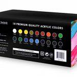 Lots de 18 Flacons de Peinture Acrylique Color Technik, 59ml, Les Meilleures Couleurs pour la Peinture sur Toile, Bois, Argile, Tissu, Nail Art et Céramique, Chargée de Pigments -Coffret Cadeau Inclus de la marque Color Technik image 4 produit