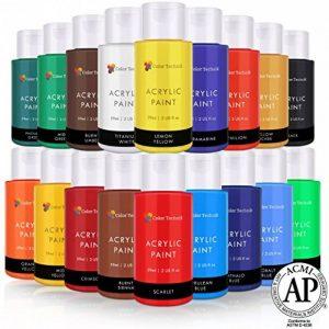 Lots de 18 Flacons de Peinture Acrylique Color Technik, 59ml, Les Meilleures Couleurs pour la Peinture sur Toile, Bois, Argile, Tissu, Nail Art et Céramique, Chargée de Pigments -Coffret Cadeau Inclus de la marque Color Technik image 0 produit