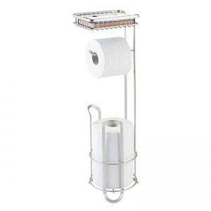 mDesign support de papier toilette sans perçage – porte-rouleaux pour toilette pour la salle de bains – couleur: satiné – dérouleur de papier WC avec brosse et étagère de la marque MetroDecor image 0 produit