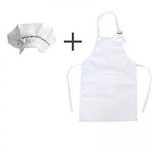 Mein HERZ Tablier Enfant + Chapeau de Chef pour enfantst,Tablier de Cuisine pour Enfants Tabliers pour Enfants,Tablier Enfant Fille GarçOn Universel/Peinture de Jardin d'enfants(Blanc) de la marque Mein HERZ image 0 produit