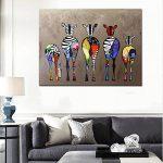 Moderne Peinture sur toile 50*70cm Couleur Motif zèbres Peinture à l'huile abstraite moderne sur toile Décoration murale de la marque XIAOWANG image 3 produit