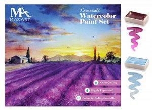 MozArt Supplies Coffret Aquarelle Japonaise Komerobi – 40 Godets de Couleur Dont 6 Métalliques et 6 Fluo – Aquarelle Richement Pigmentée - Peut Être Utilisé en Combinaison avec des Feutres Aquarelle de la marque MozArt-Supplies image 0 produit