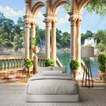 Mur Tissu Espace 3D Balcon Cascade Paysage Colonne Romaine Photo Peintures Murales Papier Peint Salon Salon Chambre Papel De Parede 3D, 260X180Cm (102.36X70.87 In) de la marque MSCLY image 1 produit