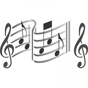 Musique Pochoir–réutilisable musical Sheet Notes Notation Clé de Sol Pochoirs pour peinture–Utilisation sur papier projets Journal de scrapbooking murs sols Tissu meubles en verre Bois etc. M de la marque Stencil Company image 0 produit