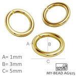My-Bead fermoir mousqueton 5 pièces 9mm argent sterling 925 doré 24 carat avec oeillets 3mm qualité par bijoutier de la marque My-Bead image 3 produit