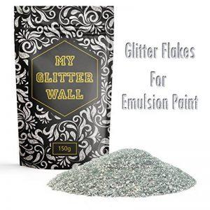 My Glitter Wall Additif paillettes pour peinture-émulsion couleur argent 150g pour décorations murales en intérieur et en extérieur de la marque CrystalsRus image 0 produit
