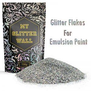 «My Glitter Wall»- Additif paillettes pour peinture-émulsion couleur argent AB, pour décorations murales en intérieur et en extérieur (150g) de la marque CrystalsRus image 0 produit