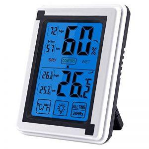 Nasharia Thermomètre hygromètre numérique d'intérieur - Bleu rétroéclairage, détecteur de température/d'humidité à écran Tactile LCD (Alimenté par Batterie) de la marque Nasharia image 0 produit