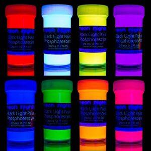 neon nights 8 x Peinture Phosphorescente Autoluminescente Couleur Fluo Luisant Dans Le Noir de la marque neon-nights image 0 produit