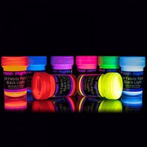 neon nights 8 x Peinture UV Fluo Teinture Tissu Textile T-Shirt Pour Lumière Noire de la marque neon-nights image 0 produit
