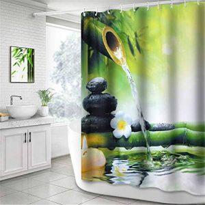 NIBESSER Rideau de Douche Imperméable et Anti-moisissure Baignoire Salle de Bain Art Déco Motif Dessiné (180 * 200cm, Bambou) de la marque NIBESSER image 0 produit