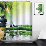 NIBESSER Rideau de Douche Imperméable et Anti-moisissure Baignoire Salle de Bain Art Déco Motif Dessiné (180 * 200cm, Bambou) de la marque NIBESSER image 2 produit