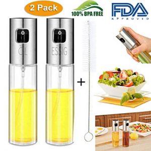 Nifogo Huile Pulvérisateur Bouteille, Huile d'olive Distributeur Alimentaire Transparent vinaigre Bouteille en Verre(2 Bouteille d'huile en Verre 100ML+Brosse de Nettoyage) de la marque Nifogo image 0 produit