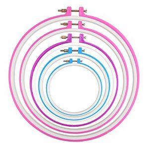 NUOLUX 12.7cm/ 16.5cm/ 20cm/ 24cm/ 27.2 cm 5pcs Tambour rond de broderie Croix Stitch Hoop Ring (couleur aléatoire) de la marque NUOLUX image 0 produit