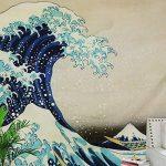 osmanthusFrag Peinture DéCorative De Tapisserie Murale Vague, Tissu De Fond De Chiffon De Surf, Tapisserie De Salon 200 * 150cm de la marque osmanthusFrag image 4 produit