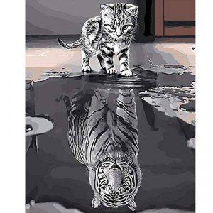 PanDaDa Peinture à l'huile Chat Image Inversée Tigre Kits Peinture par Numéro DIY Toile Art Création Décoration Murale de Maison Salon Chambre Cadeaux Anniversaire pour Adulte(sans Cadre,40 * 50CM) de la marque PanDaDa image 0 produit