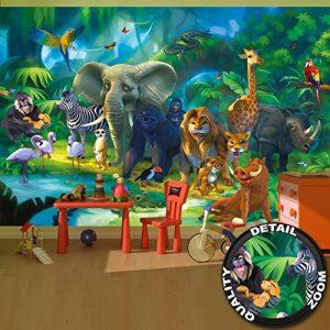 papier peint chambre d'enfants animaux peinture murale décoration murale jungle animaux du zoo nature safari aventure tigre lion éléphant et singe | murale photo mur deco chez GREAT ART (336 x 238 cm) de la marque GREAT-ART image 0 produit