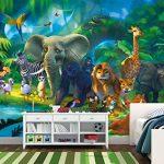 papier peint chambre d'enfants animaux peinture murale décoration murale jungle animaux du zoo nature safari aventure tigre lion éléphant et singe | murale photo mur deco chez GREAT ART (336 x 238 cm) de la marque GREAT-ART image 1 produit