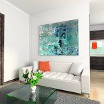 Paul Sinus Art Toile de Peinture Bleue-Vert Style Abstrait/Toile sur châssis 120x 80cm/panoramique de la marque Paul-Sinus-Art image 2 produit