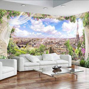 Pbbzl Personnalisé3D Mural Papier Peint Bâtiment Moderne De La Ville À L'Extérieur De La Fenêtre Paysage Peinture Peinture Européenne Style Papiers Muraux Rouleau-200X140Cm de la marque pbbzl image 0 produit