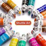 Peinture acrylique, Shuttle Art 16 x12ml (0,4 oz) tubes artiste qualité non toxiques pour les enfants adultes de pigments de couleurs riches en argile peinture sur toile bois professionnel tissu ceram de la marque Shuttle Art image 1 produit