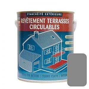 Peinture d'étanchéité imperméabilisante pour terrasse circulable, balcon, sols extérieurs, béton, plusieurs coloris 2.5 litres Gris de la marque Procom image 0 produit