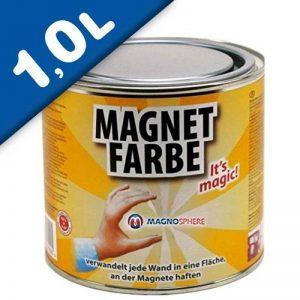 Peinture magnétique aimanté 1,0 litre - pour une surface d'2,5m² - 10m² - Peinture Aimant qui transforme un mur en surface ferromagnétique - Une revêtement mural réceptif à l'aimant de la marque Magnosphere image 0 produit