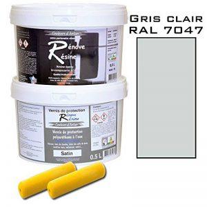 Peinture résine epoxy colorée multisupport +vernis protection satin : idéal carrelage, évier, mélaminé - Couleur gris clair RAL 7047 - 0,5L de la marque Renove Resine image 0 produit