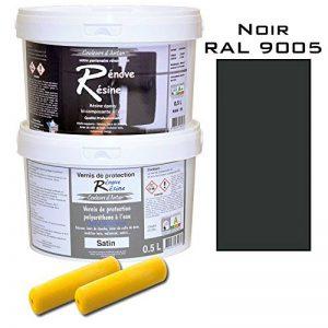 Peinture résine epoxy colorée multisupport +vernis protection satin : idéal carrelage, évier, mélaminé - Couleur noir RAL 9005 - 0,5L de la marque Renove Resine image 0 produit
