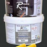 Peinture résine epoxy colorée multisupport +vernis protection satin : idéal carrelage, évier, mélaminé - Couleur noir RAL 9005 - 0,5L de la marque Renove Resine image 1 produit