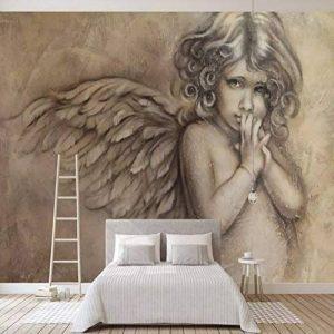 Personnalisé 3D Peintures Murales Papier Peint Peinture Style Européen 3D En Relief Ange Mural Salon Tv Fond Mur Décor Wall Paper Murale(W)400X(H)280Cm de la marque YKCKSD image 0 produit