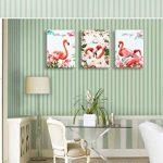 Piy Painting 3X Impression Deux Flamant Rouge représente l'amour Peinture Tableaux Home Déco Mural Impermeable, Prête à Poser, Mur Art pour Chambre Cuisine Salle Cadeau Anniversaire 30x40x2.5cm de la marque Piy Painting image 4 produit