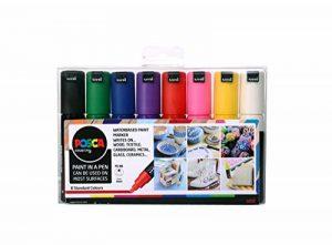 Posca 153544844 Lot de 8 Marqueurs peinture avec encre à base d'eau et pointe biseautée large en acrylique 8mm de la marque Posca image 0 produit