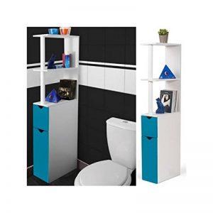 ProBache - Meuble WC étagère bois gain de place pour toilette 2 portes bleues de la marque Probache image 0 produit