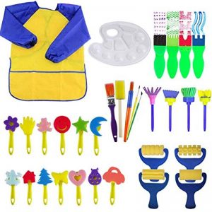 Queta Kits de Peinture pour Enfants Brosses de Peinture Éponge Brosses de Peinture Enfant avec Palette et Tablier (32Pcs) de la marque Queta image 0 produit