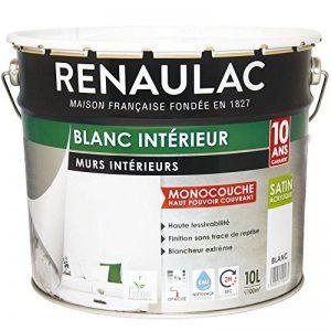 Renaulac Peinture intérieur Murs & Plafonds Monocouche Acrylique Blanc Satin 10L - 100m² de la marque Renaulac image 0 produit