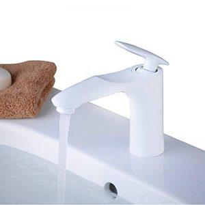Robinet mitigeur monobloc en laiton massif, salle de bain, Peinture Blanc, Beelee BL6770W de la marque Beelee image 0 produit