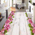 Rose Grain En Bois 3D Peinture de Plancher Stéréo Anti-Glissement Humidité Salon Papier Peint Salle De Bains Murale 200x140cm de la marque WGXCC image 2 produit