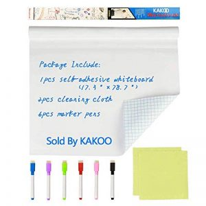 Rouleau Tableau Blanc Adhésif, KAKOO Tableau Autocollant Blanc Effaçable Rouleau Stickers Mural Whiteboard 44cm x 200cm Avec 6 Couleurs Marqueur Pour l'Étude Message Peinture de la marque KAKOO image 0 produit