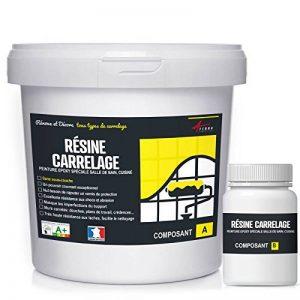 RÉSINE CARRELAGE - peinture mur carrelage cuisine salle de bain résine renovation revêtement mural - RAL 9005 Noir foncé, Kit 1kg jusqu'à 10 m² pour 2 couches de la marque ARCANE-INDUSTRIES image 0 produit