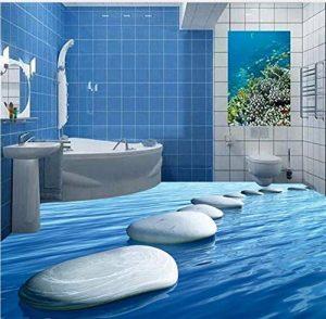 Rureng 3D Personnalisé Mural Salon Chambre Pierre Bleue Connexion Sol Peinture Salle De Bains Portable Autocollants Muraux Autocollants-200X140Cm de la marque Rureng image 0 produit