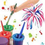 Smallones 4 pièces pas de déversement tasse de peinture et pinceaux peinture enfant coloré Brosses de Peinture de la marque Smallones image 4 produit