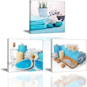 Tableau de Blue Spa parfum Zen Image Impression sur Toile Illustrations Confortable Vue Prêt Suspendu Parfait pour Salle de Bain Chambre Décor Mural Cadeau Anniversaire 3x30x30x2.5cm chez Piy Painting de la marque Piy Painting image 0 produit